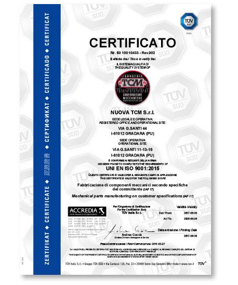 Industrie TCM _ Qualità certificato 50-100-10433 Rev. 2