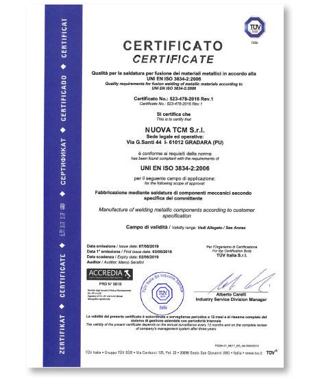 Industrie TCM _ Qualità certificato 523-478-2016 Rev. 1
